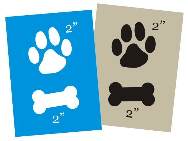 Dog Paw Print Shape STENCIL 2 Animal Track Bone you paint Pet Canine