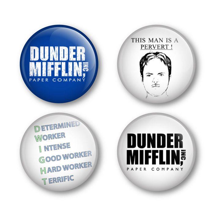The US Office Dunder Mifflin Badges Buttons Pins DVD