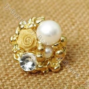 Adjustable Gold Plated Crystal Faux Pearl Bead Flower Finger Ring Size