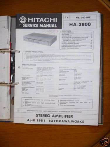 Service Manual für Hitachi HA 3800 Amplifier,ORIGINAL