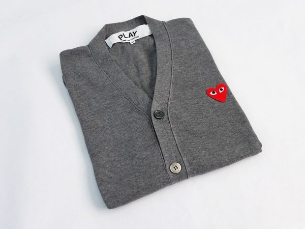 Comme des Garcons Play Gray Cardigan Red Emblem For Men