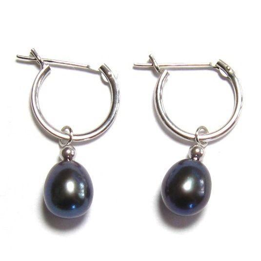 AAA Genuine Black Pearl 14K White Gold Hoop Earrings