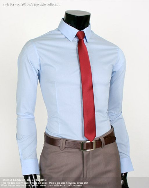 High Quality Slim Fit Light Blue Mens Dress Shirts US S