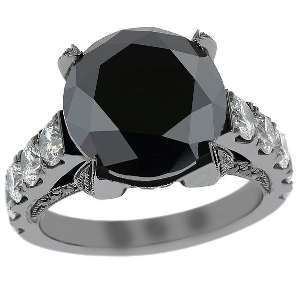 10 01 Carat Black Diamond Engagement Ring Vintage Style 14K Black Gold