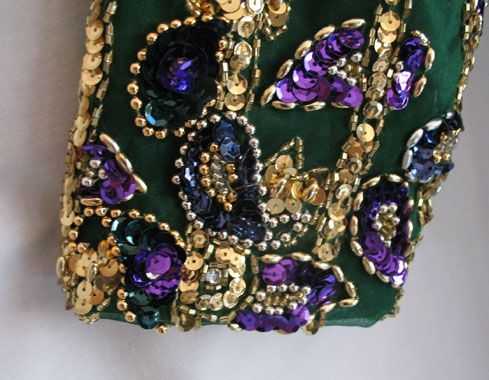 Vintage George Couture Emerald Green Gold Beaded Sequined Dress 12