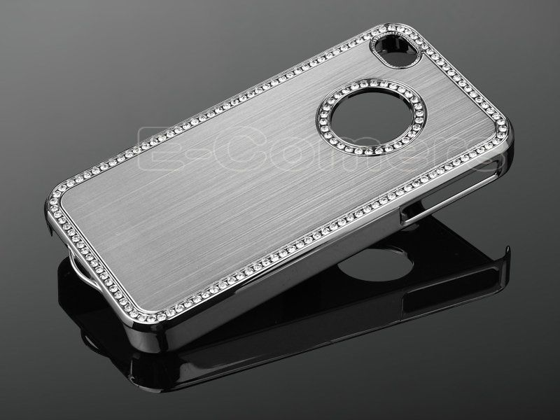 Silver Luxury Bling Diamond Rhinestone Aluminium Case Cover For iPhone