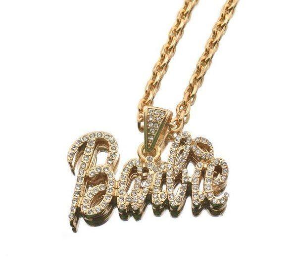 Nicki Minaj Iced Out BARBIE w/Pink Lip Pendant Necklace
