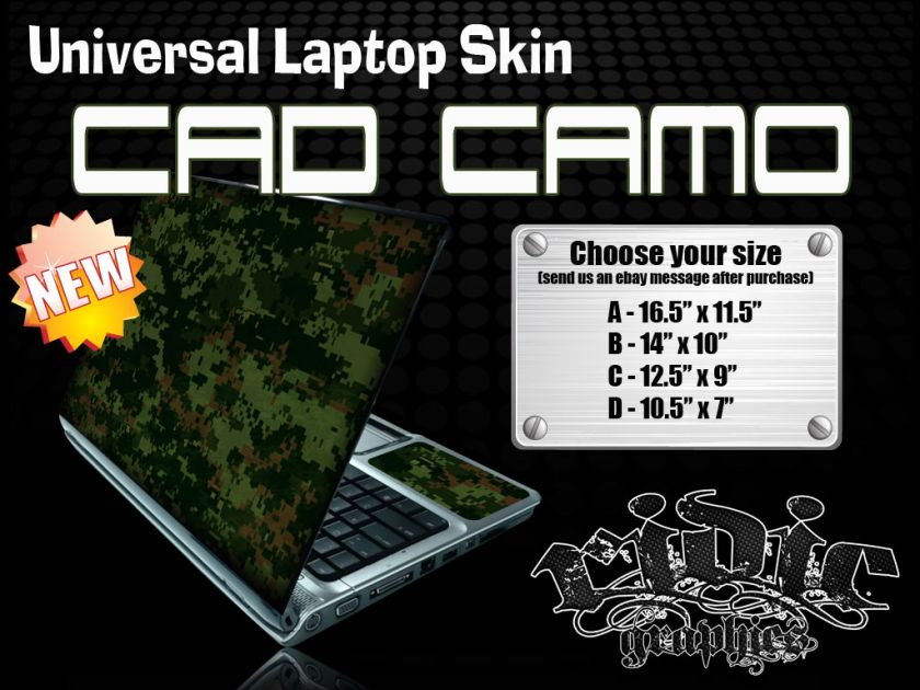 Cad Camo Universal Laptop Skin for Netbooks Tablets